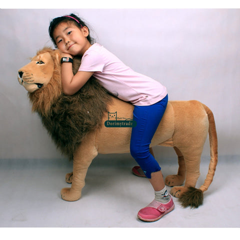 Dorimytrader 110cm Domineering Lion Stuffed Soft Toy 43'' Huge Simulated Animal Lion Plush Room Decoration Free Shipping DY60768