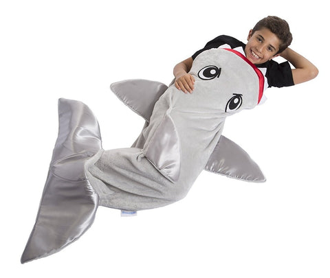Fleece anti-kick suit Cocoon shark Children's sleeping bag Suitable for children's wear (4-6 years old)