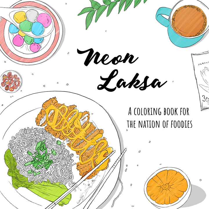 2 X Neon Laksa - Food Coloring Book