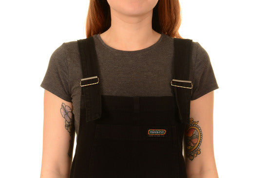 Run & Fly Unisex Black Denim Baggy Dungaree Overalls