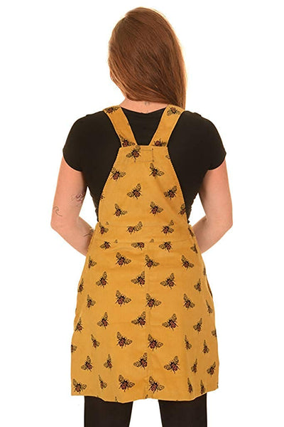 Mustard Corduroy The Bees Kneez Bee Print Pinafore Dress by Run and Fly