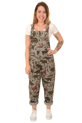 Run & Fly Adventure Dinosaur Corduroy Dungarees - Grey