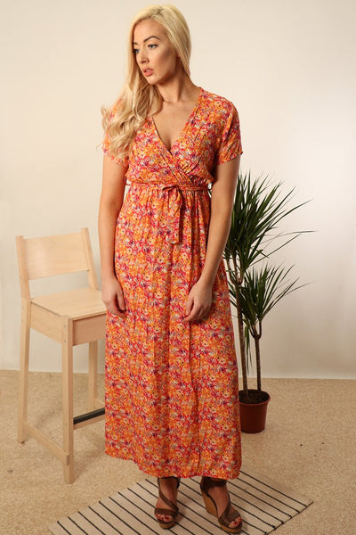 Italian Coral Wrap Dress with a bright dandelion print