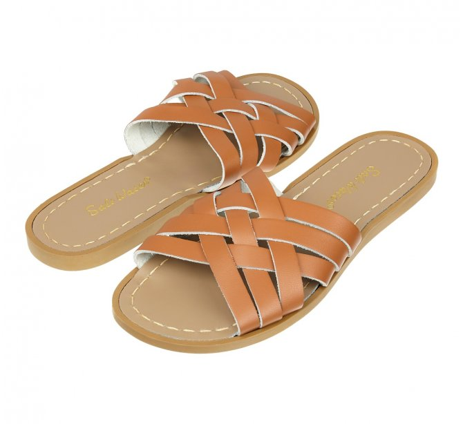 Saltwater Retro Slide Sandals Tan
