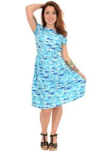 Run & Fly Jaws Shark  Print Dress