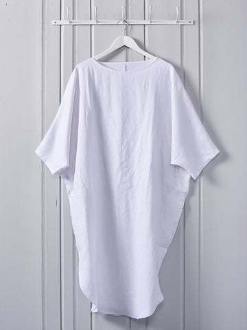 Chalk Lily Dress Linen White