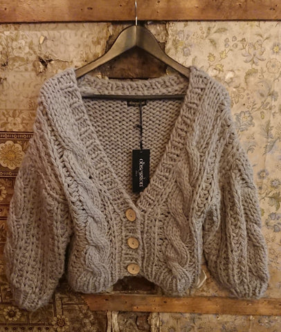 Italian Knitwear, Chunky Cable Knit Cardigan grey