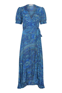 Gabrielle Parker Silk Wrap Bonita Dress -  Moroccan Blue