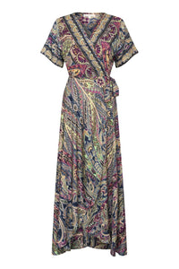 Gabrielle Parker Silk Wrap Francesca Dress -  Mosaic with gold