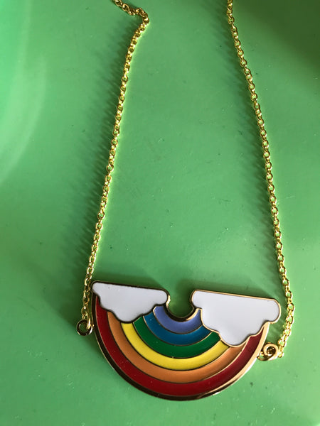 Enamel rainbow necklace