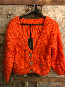 Italian Knitwear - Chunky hand knitted cardigan - orange