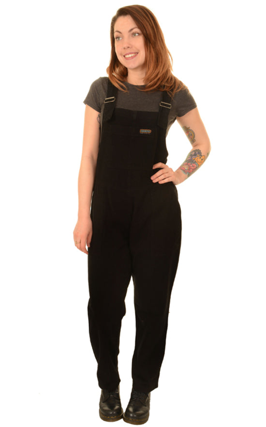 Unisex Black Denim Baggy Dungaree Overalls by Run and Fly