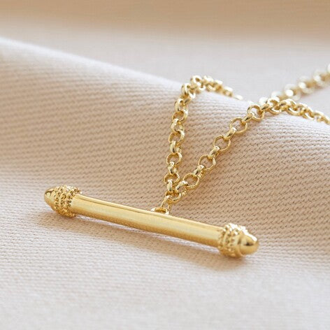 Lisa Angel - Horizontal T-Bar Necklace in Gold