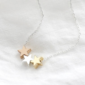 Lisa Angel - Mixed Metal Triple Star Bead Necklace