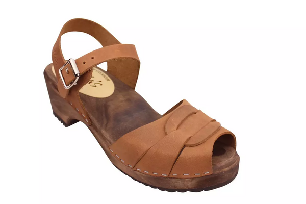 Lotta Clogs Low Peep Toe Brown Oiled on Brown Base