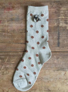 Madrid Spot Socks in Cream and Bee Pin by Sixton