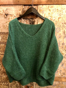 Italian Collection knitwear - Mohair mix knitted jumper - Bottle green