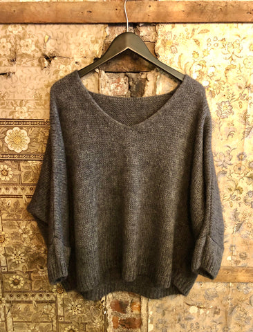 Italian Knitwear - Mohair mix knitted jumper - Charcoal