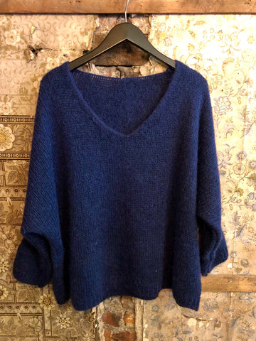 Italian Knitwear - Mohair mix knitted jumper - Inky blue