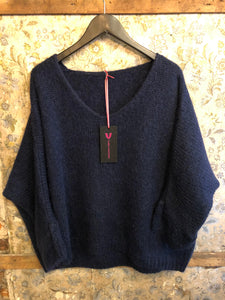 Italian Knitwear - Mohair mix knitted jumper - Navy blue