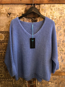Italian Knitwear - Mohair mix knitted jumper - pale blue