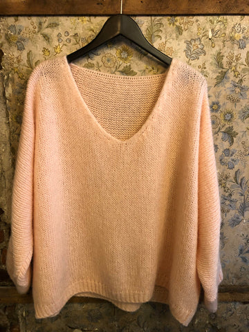 Italian Knitwear - Mohair mix knitted jumper - pale pink