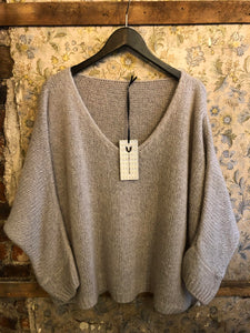 Italian Knitwear - Mohair mix knitted jumper - Silver/grey