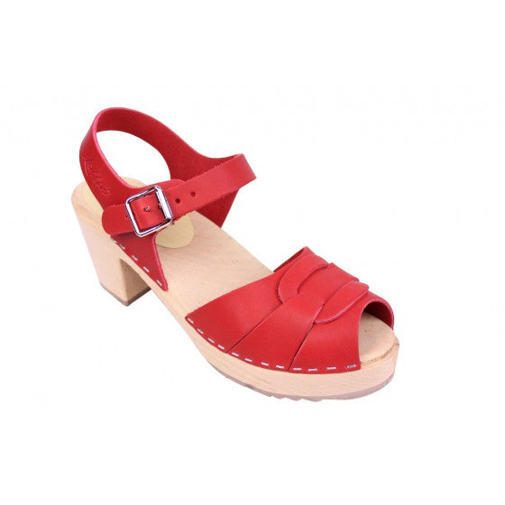 Highwood Red Peep Toe Oiled Nubuck Leather Clog