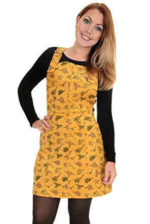 Dino Print Pinafore Dress by Run & Fly