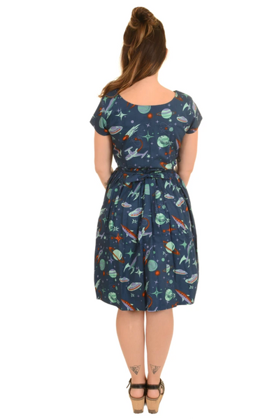 Run & Fly Outer Space Retro Tea Party Dress