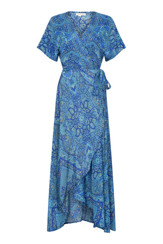 Gabrielle Parker Silk Wrap Francesca Dress -  Moroccan Blue