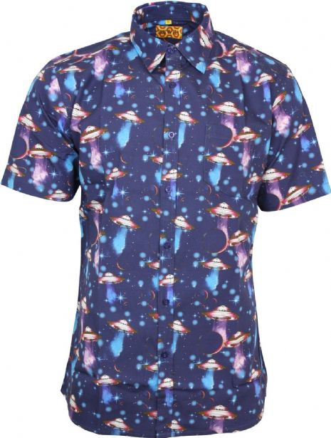 UFO Space Print Shirt by Run & Fly