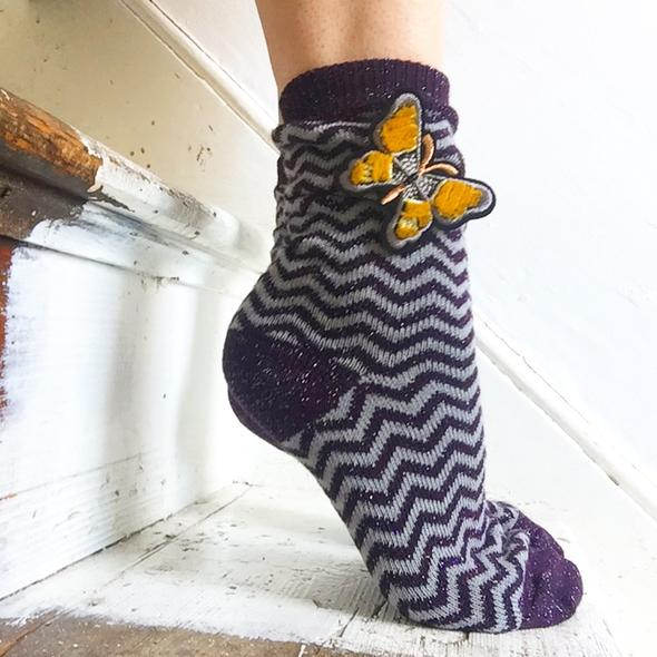 Zigzag lavender socks and a golden butterfly by Sixton