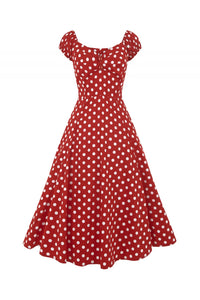 Collectif 50s Style Flared Dress Red Polkadot