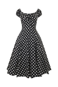 50s Style Flared Dress Black Polkadot