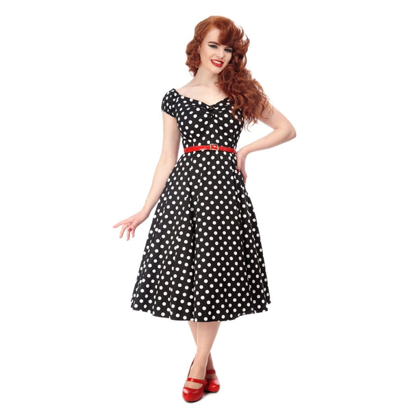 Collectif 50s Style Flared Dress Black Polkadot