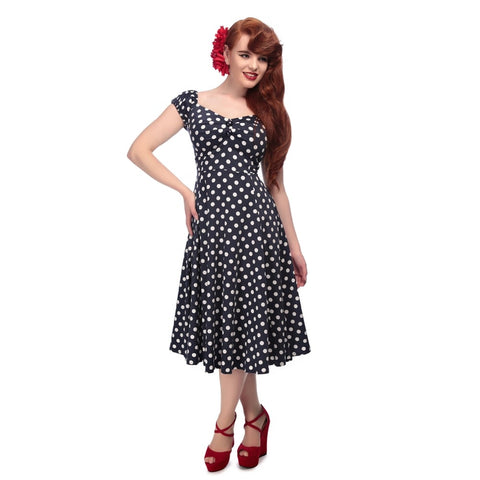 Collectif 50s Style Flared Dress Navy Blue Polkadot