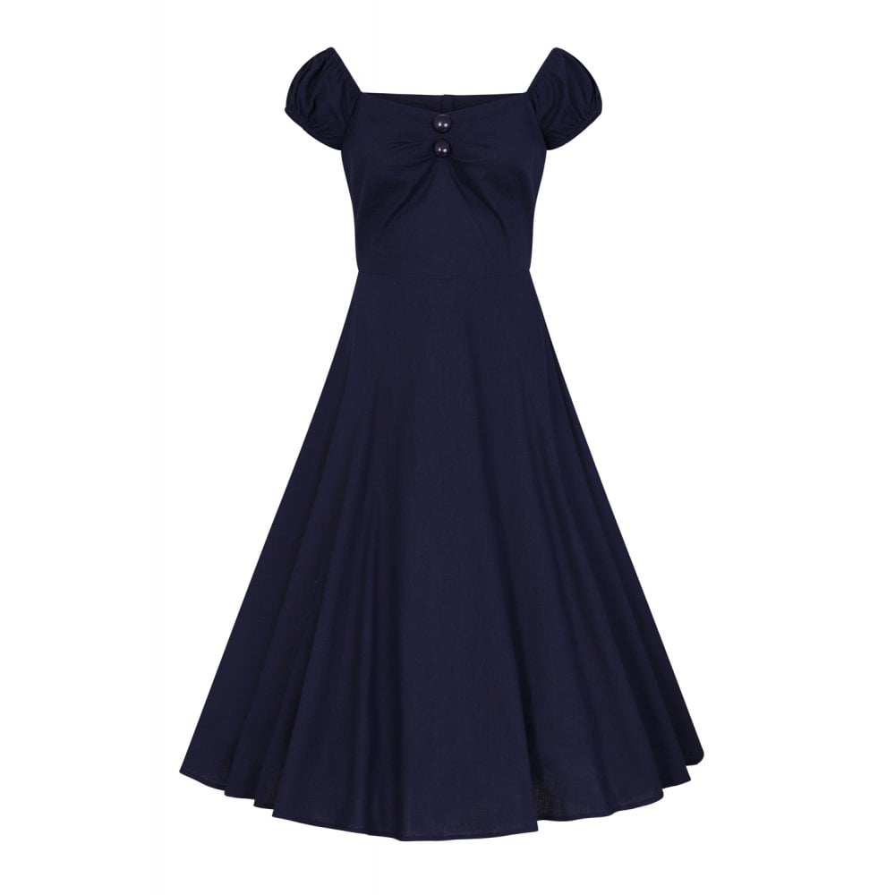 Mainline Dolores Vintage Plain Doll Dress - Navy by Collectif