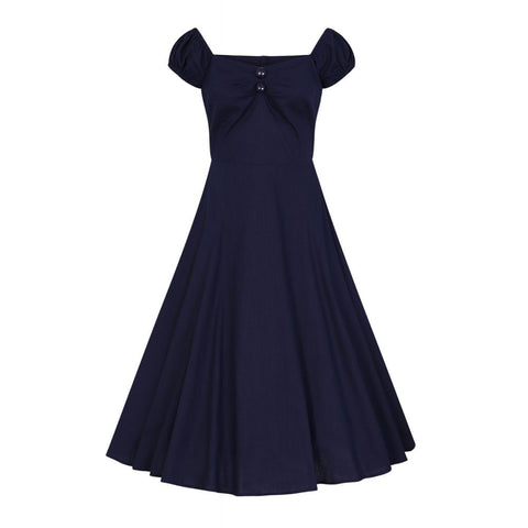 Collectif Mainline Dolores Vintage Plain Doll Dress - Navy by Collectif