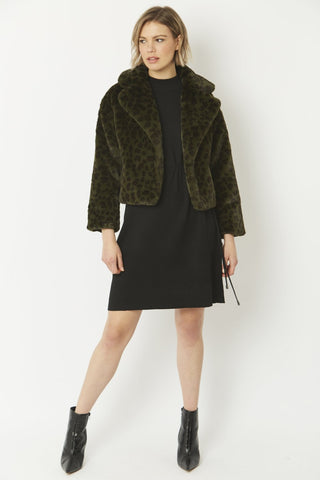 Jayley Dark Green Animal cropped Faux fur coat