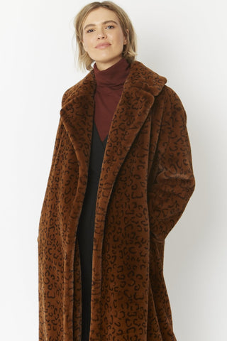 Jayley Chocolate Animal Print Maxi Faux fur coat