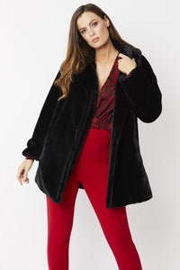 Jayley Black Faux Fur Coat