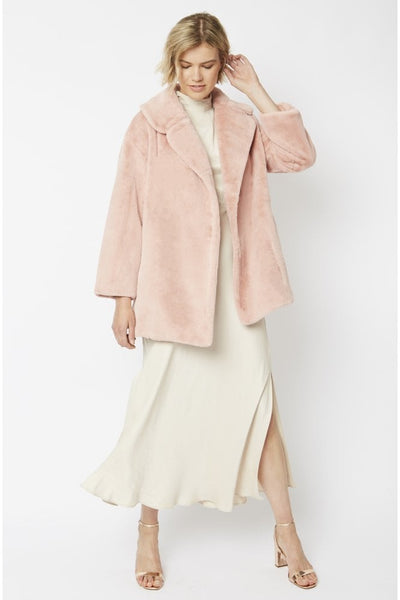 Jayley Soft Pink Faux fur coat