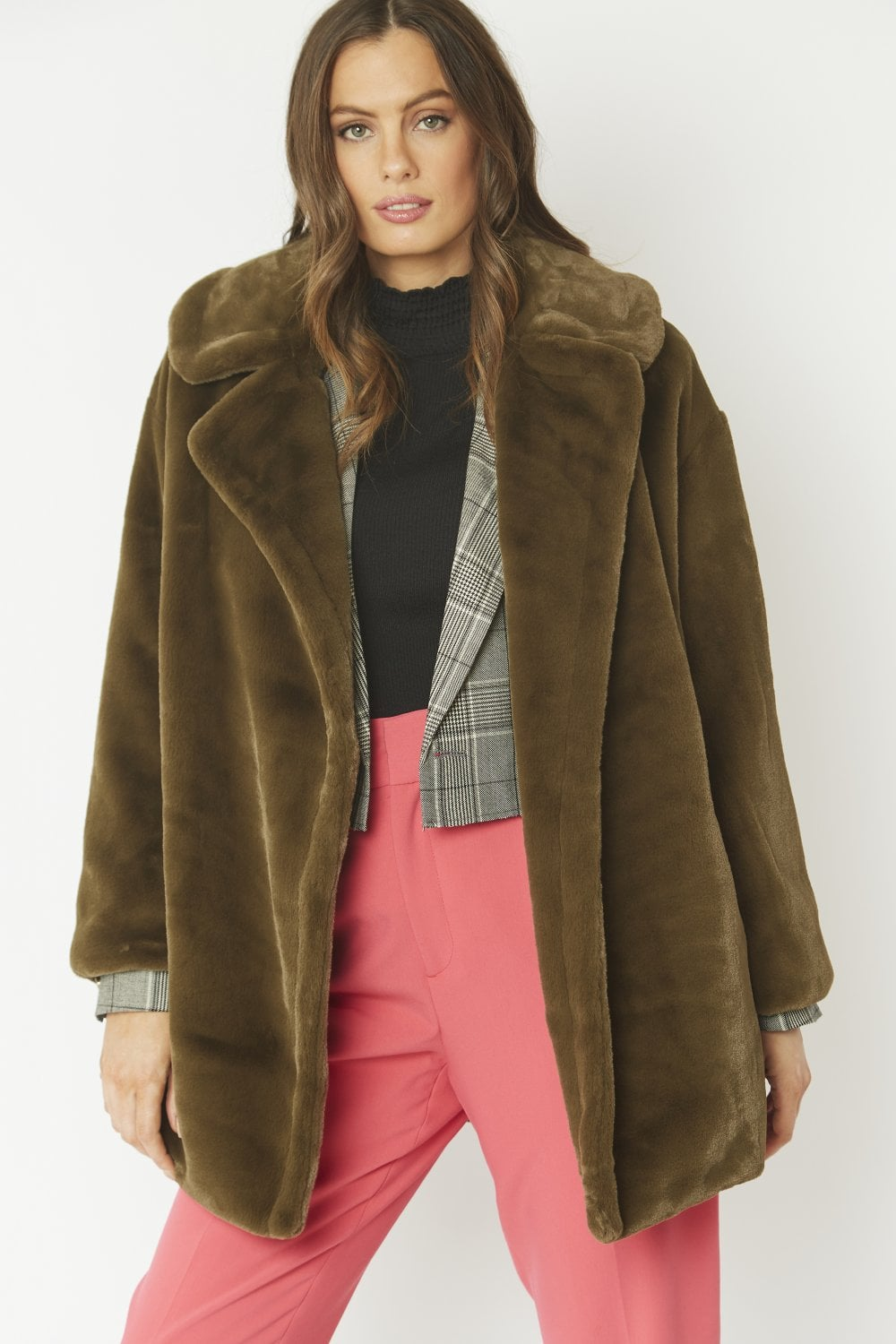 Jayley Dark green Faux fur coat
