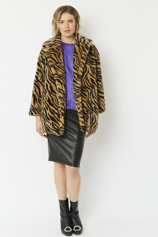 Jayley leopard Tiger Print faux fur coat