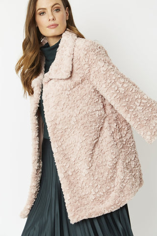 Jayley Pale Pink Teddy Faux fur coat