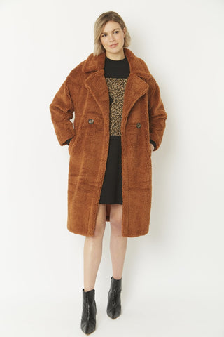 Jayley Midi Faux Fur Shearling coat Russett