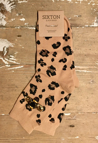 Leopard Luxe Socks in Brown by Sixton