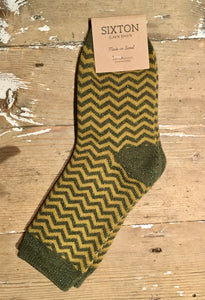 Zigzag Mustard Socks by Sixton