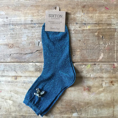 Monaco Socks in Turquoise with Bee Pin by Sixton